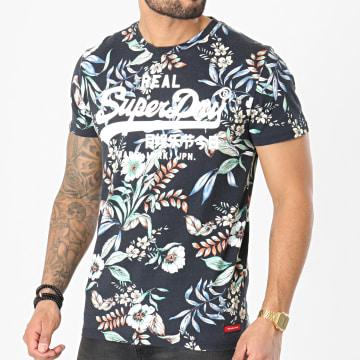 Superdry - Tee Shirt Floral VL AOP M1010999A Bleu Marine