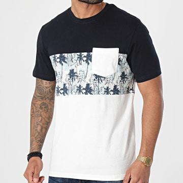 Tiffosi - Tee Shirt Poche Matt Ecru Gris Bleu Marine Floral