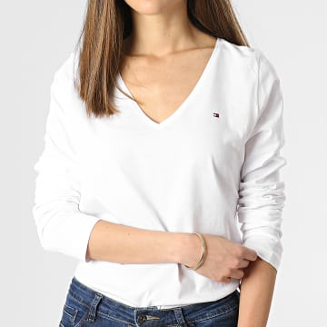 Tommy Hilfiger - Tee Shirt Manches Longues Femme Col V Regular Classic 0489 Blanc