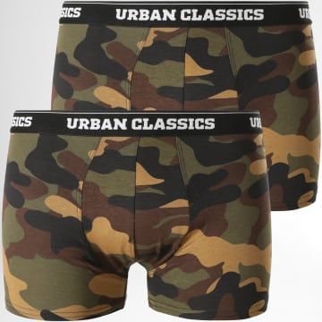 Urban Classics - Lot De 2 Boxers TB2047 Camouflage Vert Kaki