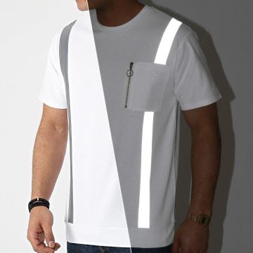 John H - Tee Shirt Poche XW915 Blanc Réfléchissant