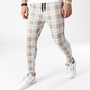 John H - Pantalon A Carreaux XW2P15 Beige Blanc