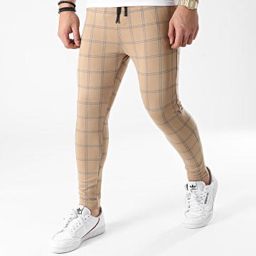 John H - Pantalon A Carreaux 2116 Camel