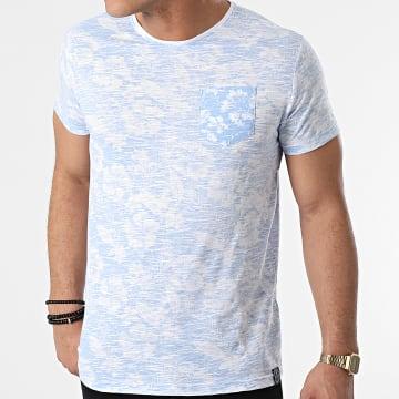 La Maison Blaggio - Tee Shirt Poche Merced Bleu Clair Blanc Floral