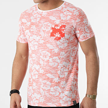 La Maison Blaggio - Tee Shirt Poche Merced Orange Blanc Floral