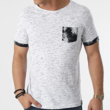 La Maison Blaggio - Tee Shirt Poche Memphis Blanc Chiné Floral