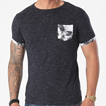 La Maison Blaggio - Tee Shirt Poche Memphis Bleu Marine Chiné Floral