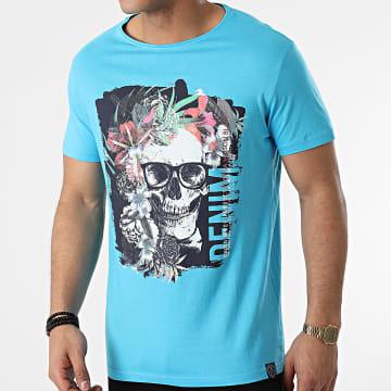 La Maison Blaggio - Tee Shirt Mundi Bleu Clair Floral