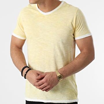 La Maison Blaggio - Tee Shirt Col V Mesa Jaune Clair Chiné