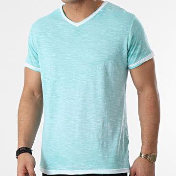 La Maison Blaggio - Tee Shirt Col V Mesa Vert Clair Chiné