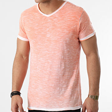 La Maison Blaggio - Tee Shirt Col V Mesa Orange Chiné