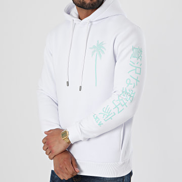 Luxury Lovers - Sweat Capuche Palm Japan Blanc Vert