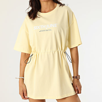 Sixth June - Robe Tee Shirt Femme W4121KDR Jaune Clair