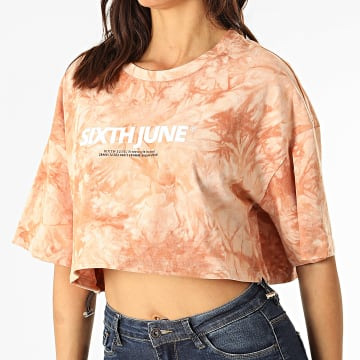 Sixth June - Tee Shirt Crop Femme W32815KTO Beige