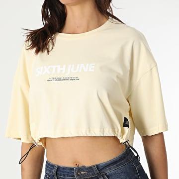 Sixth June - Tee Shirt Crop Femme W4120KTO Jaune