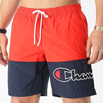 Champion - Short De Bain 214431 Rouge Bleu Marine