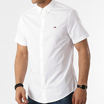 Tommy Jeans - Chemise Manches Courtes Lightweight Twill 0137 Ecru