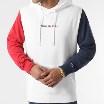 Tommy Jeans - Sweat Capuche Tricolore Half And Half 0195 Blanc Bleu Marine Rouge Chiné