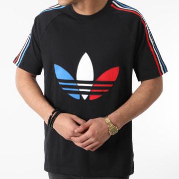 Adidas Originals - Tee Shirt A Bandes Tricolore Tee 2 GQ8920 Noir