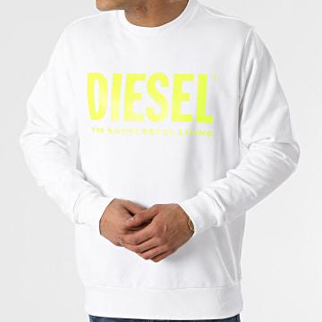 Diesel - Sweat Crewneck Division Logo 00SWFH-0BAWT Blanc Jaune Fluo