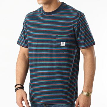 Element - Tee Shirt Poche A Rayures Basic Multi Bleu Marine