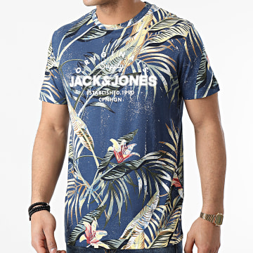Jack And Jones - Tee Shirt Pop Print Bleu Marine Floral