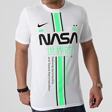 NASA - Tee Shirt Stripe Blanc Vert Fluo Custom