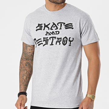 Thrasher - Tee Shirt Skate And Destroy THRTS024 Gris Chiné
