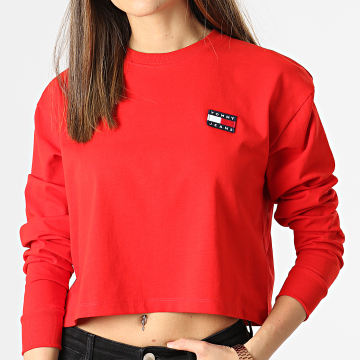 Tommy Jeans - Tee Shirt Manches Longues Femme Crop Tommy Badge 9104 Rouge