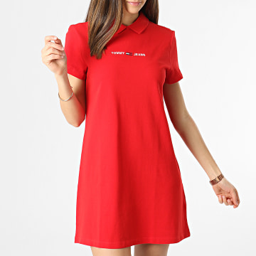 Tommy Jeans - Robe Polo Manches Courtes Femme Essential 0116 Rouge