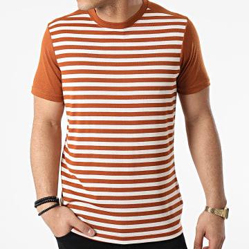 Armita - Tee Shirt A Rayures TC-564 Camel Blanc