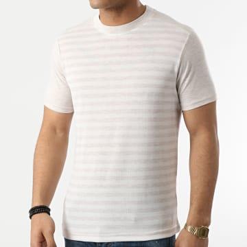 Armita - Tee Shirt A Rayures TC-564 Beige Chiné Blanc