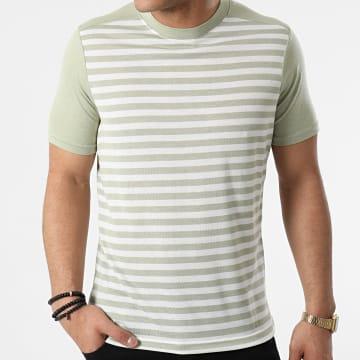 Armita - Tee Shirt A Rayures TC-564 Vert Clair Blanc