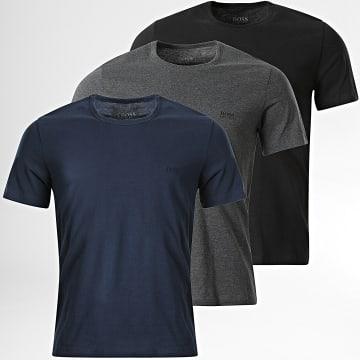 BOSS - Lot De 3 Tee Shirts 50325887 Bleu Marine Noir Gris Anthracite Chiné