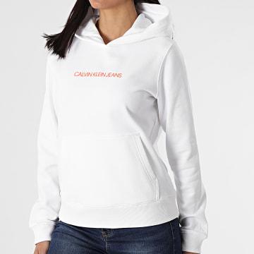 Calvin Klein - Sweat Capuche Femme Shrunken Institutional 5582 Blanc