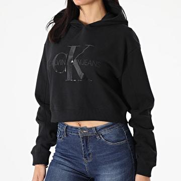 Calvin Klein - Sweat Capuche Crop Femme 6346 Noir