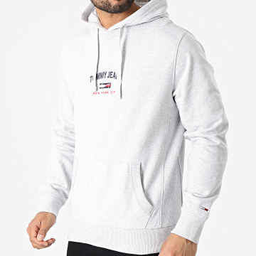 Tommy Jeans - Sweat Capuche Timeless Tommy 0208 Gris Chiné