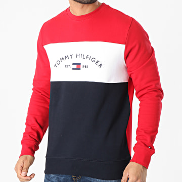Tommy Hilfiger - Sweat Crewneck Embroidered Signature 8300 Bleu Marine Blanc Rouge