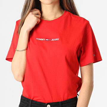 Tommy Jeans - Tee Shirt Stacked Tommy Flag 0057 Rouge