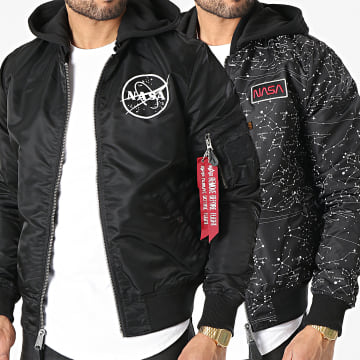 Alpha Industries - Bomber Capuche Réversible MA-1 LW HD NASA Glow In The Dark Noir