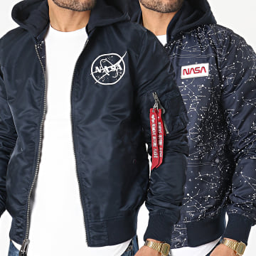 Alpha Industries - Bomber Capuche Réversible MA-1 LW HD NASA Glow In The Dark Bleu Marine