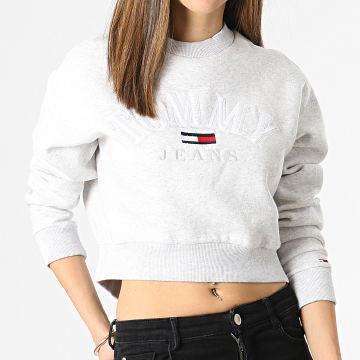 Tommy Jeans - Sweat Crewneck Femme Crop College Logo 9792 Gris Chiné