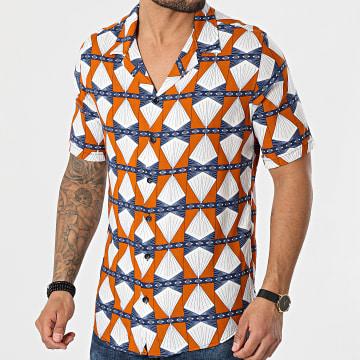 Black Needle - Chemise Manches Courtes 3505 Orange Blanc Bleu Marine