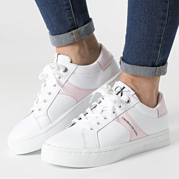 Calvin Klein - Baskets Femme Cupsole Lace Up 0061 Bright White Pearly Pink