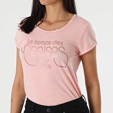 Le Temps Des Cerises - Tee Shirt Femme Trame Rose