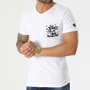 Le Temps Des Cerises - Tee Shirt Poche Col V Tezard Blanc Chiné