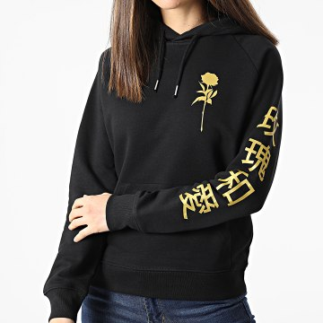 Luxury Lovers - Sweat Capuche Femme Roses Japan Sleeve Noir Doré