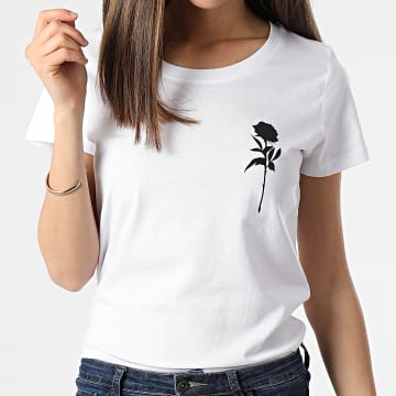 Luxury Lovers - Tee Shirt Femme Rose Chest Blanc Noir