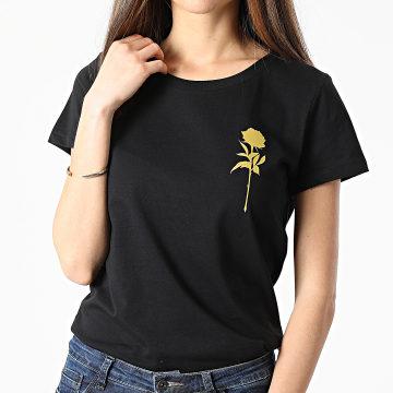 Luxury Lovers - Tee Shirt Femme Rose Chest Noir Doré