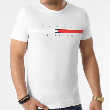 Tommy Hilfiger - Tee Shirt Global Stripe Chest 6572 Blanc